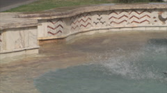 Fountain In Downtown, Hot Summer Day, Detail, Water Splashing, Close Up, Pan - stock footage
