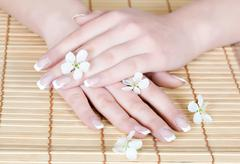 nails with flower - stock photo