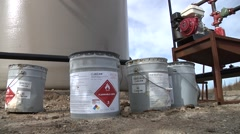 Flammable Chemicals on Well Site Stock Footage