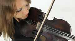 Amazing girl playing violin with a sense Stock Footage