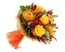 Bouquet from roses and arabian star flower (ornithogalum arabicum) isolated. Kuvituskuvat