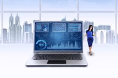 Woman and chart on laptop celebrate her achievement Stock Illustration