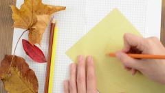 Crafts with Autumn Leaves on cardboard box paper Stock Footage