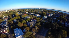Flyover of a historic downtown neighborhood in Charleston, SC (3 of 4) - stock footage