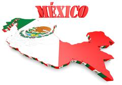 map illustration of mexico with flag - stock illustration