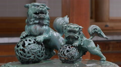 Lion Statues in the Rain at Zenkoji Temple in Nagano, Japan Stock Footage