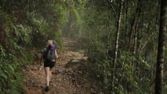 Mount Kinabalu Trek Woman hiking slow motion Stock Footage