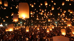 Many Sky Lanterns Floating In Loi Krathong Festival Of Chiang Mai Thailand 2014 Stock Footage