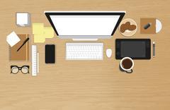Realistic workplace organization - stock illustration