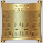 Calendar 2015 vector Sunday first american week 12 months golden metallic Stock Illustration