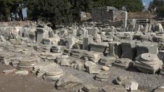 Ephesus Turkey ancient stone work ruins HD Stock Footage