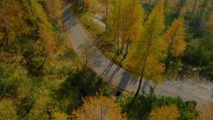 AERIAL: Idyllic mountain road in autumn Stock Footage