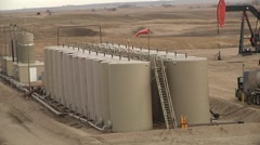 Oil Well Large Tank Battery Stock Footage