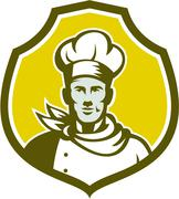 baker chef cook bust front shield retro - stock illustration