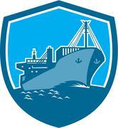 Container ship cargo boat shield retro. Piirros
