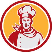 baker chef cook bust front circle retro - stock illustration
