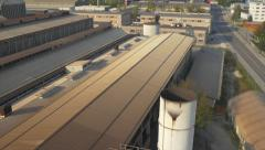 AERIAL: Crumbling factory - stock footage