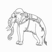 White elephant,traditional thai art Stock Illustration