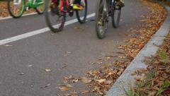People bicycling and walking at park with fallen leaves in Korea Stock Footage