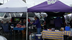 Tailgate Party For UW Huskies Game In Seattle Stock Footage