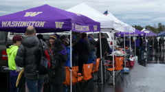 Rainy Tailgate Party For UW Huskies Game In Seattle Stock Footage