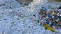 AERIAL: Plastic garbage dump Stock Footage