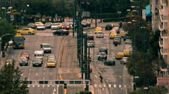 City street central avenue overview high angle telephoto traffic timelapse - stock footage