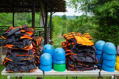 Helmet and life jacket for rafting Stock Photos