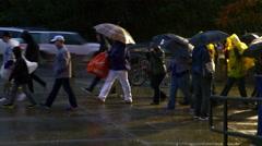 People Walk With Umbrellas In Rainstorm, 4K, UHD Stock Footage