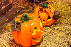 Jack o lanterns halloween pumpkin face. Stock Photos