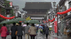 Rainy Day on Street Approaching Zenkoji Temple in Nagano, Japan Stock Footage