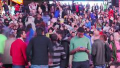 Crowd of people on Times Square at night. NYC. Timelapse. - stock footage