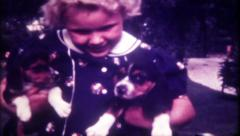 1264 - a girl just loves her puppy's - vintage film home movie Stock Footage