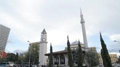 Tirana mosque tower01b Stock Footage