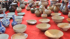 antiques market in Asia - stock footage