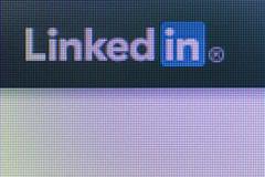 Social network linkedin icon on the computer screen Stock Photos