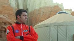 Astronaut no helmet Stock Footage