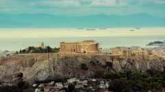4K Acropolis parthenon timelapse golden sunset Stock Footage