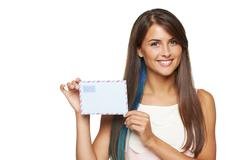 Woman showing blank envelope - stock photo
