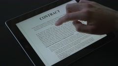 4K Digital Contract Viewing On Tablet Stock Footage