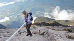 Mount Kinabalu Summit Rope Climb. Borneo Malaysia. Stock Footage