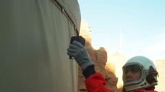 Astronaut scan scanning terraforming teraform terraform Stock Footage