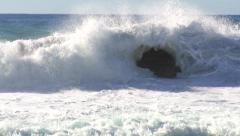 Huge waves crashing into rock 2 Stock Footage