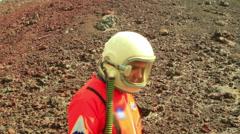 astronaut walking walk outside - stock footage