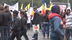 People protest against politics system, angry men and women outdoor screaming Stock Footage