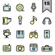 Entertainment icons set Piirros