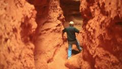 Man in cavern west Stock Footage