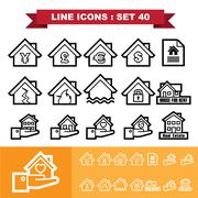 real estate line icons set  - stock illustration