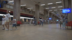 Subway train close doors, leave station, people in big cities travel underground Stock Footage