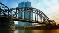 The new European Central Bank Headquarters in Frankfurt, Germany. time lapse,4k - stock footage